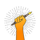 World press freedom day, May 3. Vector hand drawn illustration. Hand holding fountain pen, symbol of the profession of a journalist and writer. Retro writing Stock Images