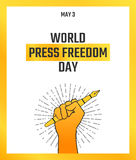 World press freedom day, May 3. Vector hand drawn illustration. Journalist`s raised hand holding fountain pen, symbol of profession. Poster design. Black, gold Royalty Free Stock Photography