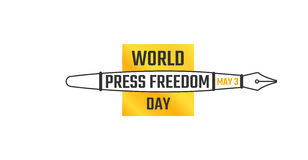World press freedom day, May 3. Vector illustration, horizontal banner with fountain pen, symbol of the profession of a journalist. Retro writing tool Royalty Free Stock Images