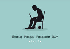 World Press Freedom Day vector. Vector illustration of the Press Freedom Day. Man sitting with computer. Silhouette of a seated figure Royalty Free Stock Photo