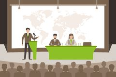 Speaker doing presentation about global issues in the world. vector illustration