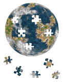 World from puzzle. World picture, earth collected from puzzle. Child's entertaining game. Isolated on a white background Stock Photography