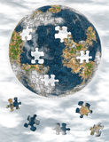 World from puzzle. World picture, earth collected from puzzle Stock Image