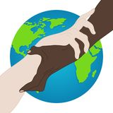 World Racial Equality. Unity, Alliance, Team, Partner Concept. Holding Hands Showing Unity. Relationship Icon. Vector illustration royalty free illustration