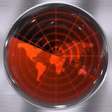 World Radar Screen. The world on a radar screen - blips can be added easily anywhere they are needed Stock Images