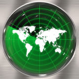 World Radar Screen. A world radar screen - blips can be added easily anywhere they are needed.  This could be used for a variety of concepts Stock Image