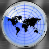 World Radar Screen. A world radar screen - blips can be added easily anywhere they are needed.  This could be used for a variety of concepts Stock Images