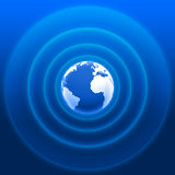 World radar waves blue white 01. 3D earth white blue with radar waves Stock Photos
