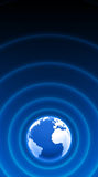 World radar waves blue white 04. 3D earth white blue with radar waves stock illustration