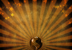 World radiates. Rays and stars grunge background with toned earth Stock Image