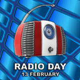 World Radio Day 3D Illustration. On Abstract Blue Background Stock Photos