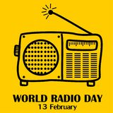 World radio day, 13 february stock illustration