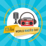 World Radio Day. On February 13 Background, radio and microphone on air Royalty Free Stock Images