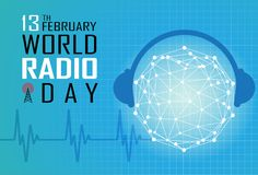 World Radio Day. On February 13 Background, radio and microphone on air Stock Photos