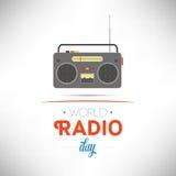 World Radio Day. Flat design vector illustration on white background Royalty Free Stock Photos