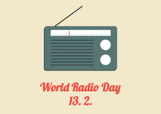 World Radio Day poster. With old radio in flat design Stock Photos
