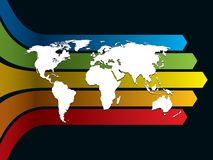 World and rainbow. White world map on a rainbow background, conceptual business illustration. The base map is from Central Intelligence Agency Web site