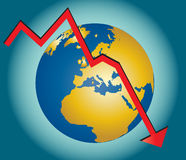 World in Recession. Illustration of a downward graph over a globe, showing financial and economic down turn and recession. Additional vector formats available Stock Images