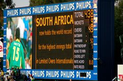 World Record Cricket Scoreboard. Image of scoreboard runs in the World Record one day international match between South Africa and Australia Royalty Free Stock Photos