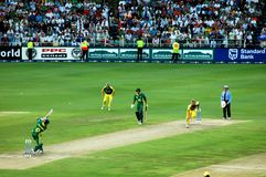 World Record Cricket winning runs. Image of Mark Boucher scoring the winning runs in the World Record one day international match between South Africa and Stock Image