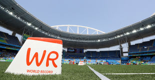 World record mark. At the stadium Royalty Free Stock Images