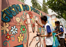 World record peace mural painting in Manila, Philippines Royalty Free Stock Photography