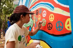 World record peace mural painting in Manila, Philippines royalty free stock images