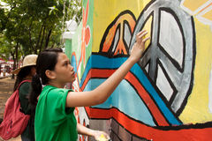 World record peace mural painting in Manila, Philippines Royalty Free Stock Photos