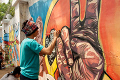 World record peace mural painting in Manila, Philippines Royalty Free Stock Photo