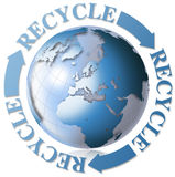 World recycle. 3d recycling symbol with Earth blue globe Royalty Free Stock Images