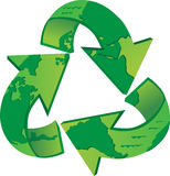 World Recycle. Recycling symbol with the world map on it. Eps10 Royalty Free Stock Photo