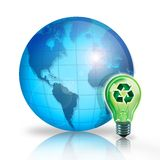 World Recycling. Digital illustration concept using a recycling idea light bulb to illustration World Recycling Idea Royalty Free Stock Photo