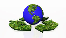 World into the recycling symbol. A world that shows the American continent made by grass and flowers, lies in the centre of a recycling symbol where grow grass Stock Images