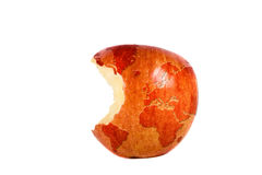 The world in a red apple stock images