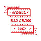 World Red Cross day greeting emblem. World Red Cross day emblem isolated vector illustration on white background. 8 may world healthcare holiday event label Royalty Free Stock Photos