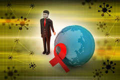 World with red ribbon Stock Image