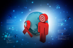 World with red ribbon Stock Photo