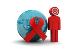 World with red ribbon with man Royalty Free Stock Photography