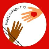 World Refugee Day. The hand behind the barbed wire stretches to the hand with the heart. World Refugee Day. Concept of social event. 20 June. The hand behind Royalty Free Stock Image