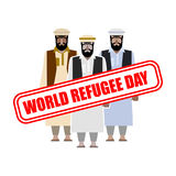 World refugee day. Expatriates in  Syrian garments. refugee stam Royalty Free Stock Photography