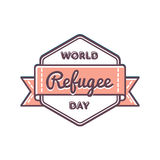 World Refugee day greeting emblem. World Refugee day emblem isolated vector illustration on white background. 20 june global social holiday event label, greeting Royalty Free Stock Photography