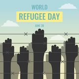 World Refugee Day, 20 June. Human hands near border fence conceptual illustration vector Royalty Free Stock Images