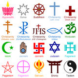 World Religion Colorful Icons Stock Photos