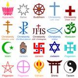 World Religion Colorful Icons. Illustration showing the symbols of the most popular religions of the world isolated on white background: Ayyavazhi (lotus Stock Photos