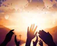 World Religion Day Concept: Human open two empty hands up background. 2019 concept: Happy New Year royalty free stock photos