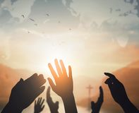 World Religion Day Concept: Human open two empty hands up background. 2019 concept: Happy New Year royalty free stock photography