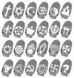 World religion and fingerprint. Illustration Stock Image