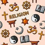 World religion hand drawn seamless pattern - Royalty Free Stock Photo