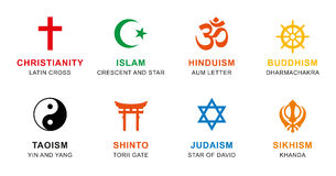 World religion symbols colored with English labeling. World religion symbols colored. Signs of major religious groups and religions. Christianity, Islam Royalty Free Stock Image