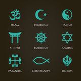 World religion symbols. Cyan color set with christian, Jewish, Islam etc Royalty Free Stock Photos